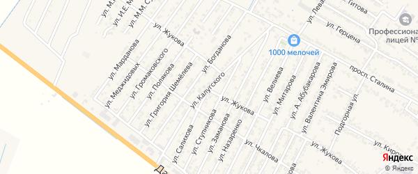 Улица Мирзы Калугского на карте Дагестанских огней с номерами домов