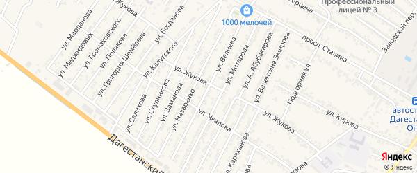 Улица Велиева на карте Дагестанских огней с номерами домов