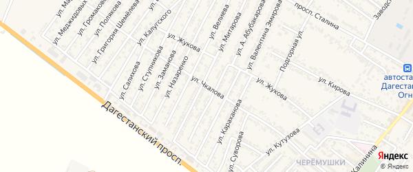Переулок Валерия Павловича Чкалова на карте Дагестанских огней с номерами домов