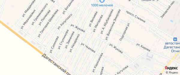 Улица Муталиба Митарова на карте Дагестанских огней с номерами домов