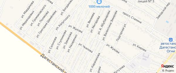 Улица Метарова на карте Дагестанских огней с номерами домов