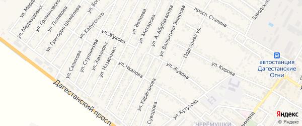 Улица Валентина Аллахьяровича Эмирова на карте Дагестанских огней с номерами домов