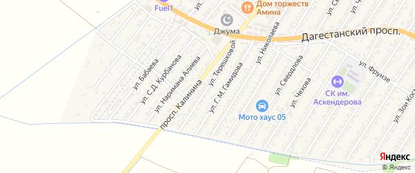 Улица Валентины Владимировна Терешковой на карте Дагестанских огней с номерами домов
