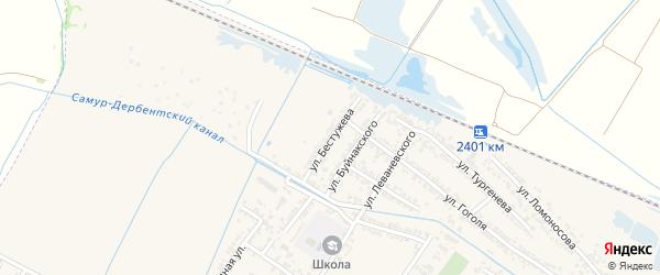 Улица Бестужева на карте Дагестанских огней с номерами домов