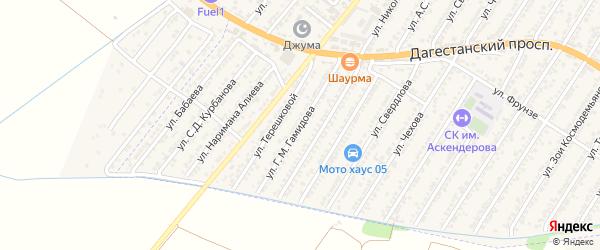 Улица Гамида Мустафаевича Гамидова на карте Дагестанских огней с номерами домов