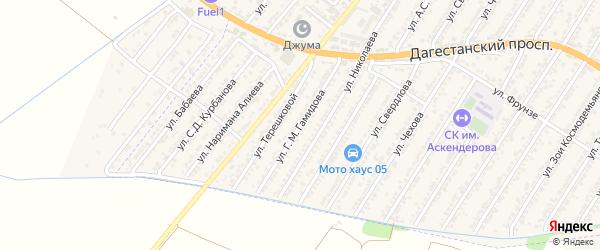Улица Гусейнова М.Г. на карте Дагестанских огней с номерами домов