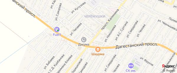 Улица Умалата Гюльмагомедова на карте Дагестанских огней с номерами домов