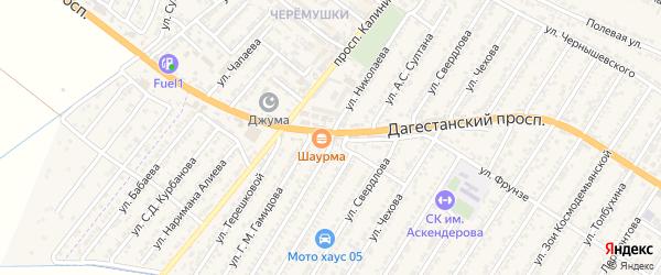 Улица Андрияна Григорьевича Николаева на карте Дагестанских огней с номерами домов