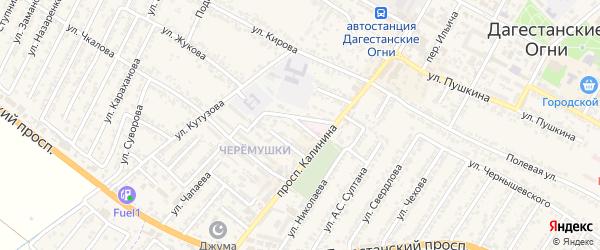 Переулок Аллея Дружбы на карте Дагестанских огней с номерами домов
