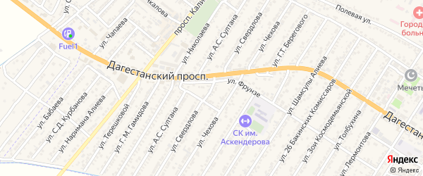 Улица Якова Михайловича Свердлова на карте Дагестанских огней с номерами домов