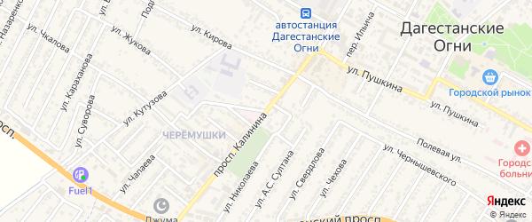 Переулок Михаила Ивановича Калинина на карте Дагестанских огней с номерами домов