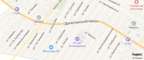 Улица Антона Павловича Чехова на карте Дагестанских огней с номерами домов