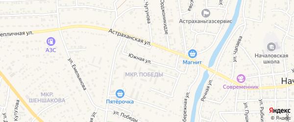 Южная улица на карте села Началово с номерами домов
