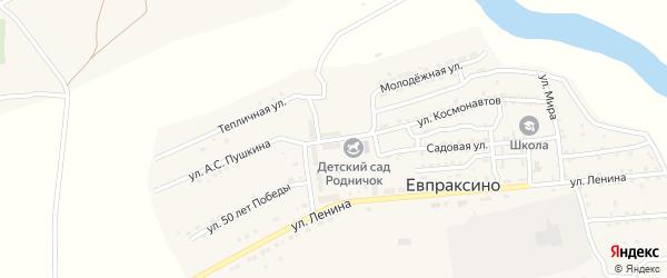 Микрорайон Юность на карте села Евпраксино с номерами домов