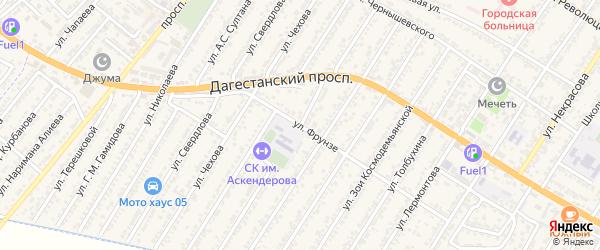 Улица Магомеда Имадутдиновича Гаджиева на карте Дагестанских огней с номерами домов