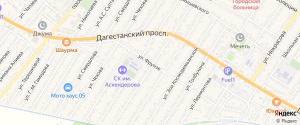 Улица Михаила Васильевича Фрунзе на карте Дагестанских огней с номерами домов