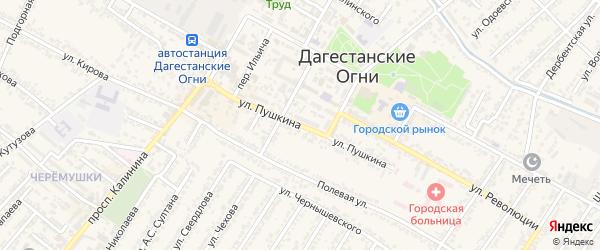 Улица Александра Сергеевича Пушкина на карте Дагестанских огней с номерами домов