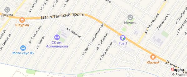 Улица Зои Космодемьянской на карте Дагестанских огней с номерами домов