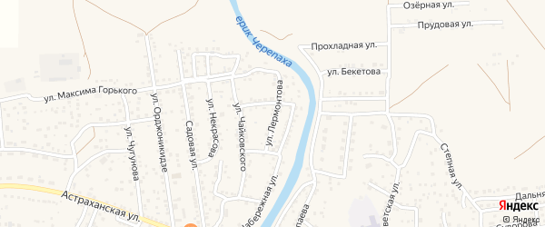 Улица Лермонтова на карте села Началово с номерами домов