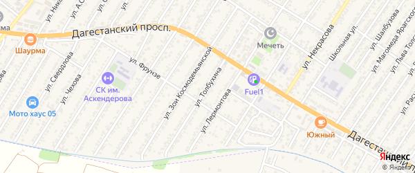 Улица Толбухина на карте Дагестанских огней с номерами домов