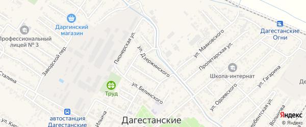 Улица Феликса Эдмундовича Дзержинского на карте Дагестанских огней с номерами домов