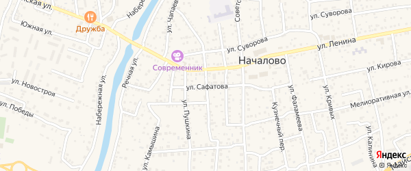 Улица Сафатова на карте села Началово с номерами домов