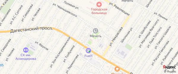 Улица Михаила Юрьевича Лермонтова на карте Дагестанских огней с номерами домов