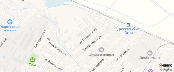 Улица Владимира Владимировича Маяковского на карте Дагестанских огней с номерами домов