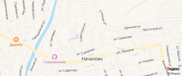 Октябрьская улица на карте села Началово с номерами домов