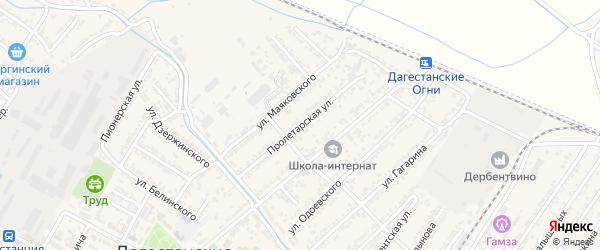 Пролетарская улица на карте Дагестанских огней с номерами домов