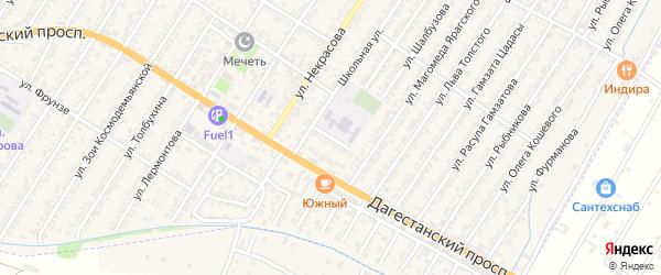 Школьный переулок на карте Дагестанских огней с номерами домов
