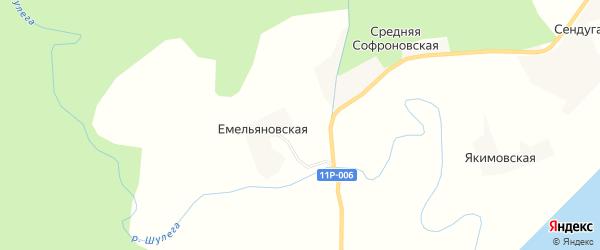 Карта Емельяновской деревни в Архангельской области с улицами и номерами домов