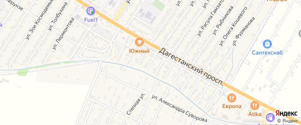 Солнечная улица на карте Дагестанских огней с номерами домов