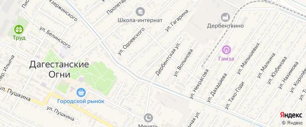 Улица Фридриха Энгельса на карте Дагестанских огней с номерами домов