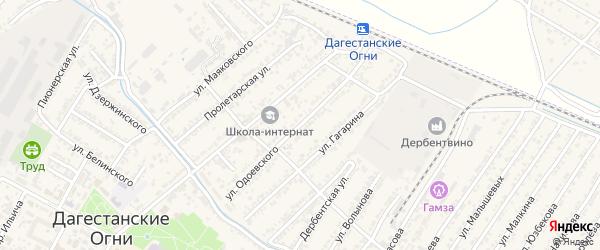 Улица Владимира Федоровича Одоевского на карте Дагестанских огней с номерами домов