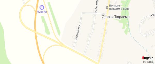 Западная улица на карте деревни Старой Тюрлемы с номерами домов
