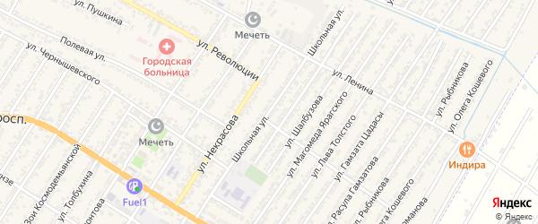 Школьная улица на карте Дагестанских огней с номерами домов