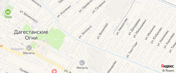 Переулок Дербентская на карте Дагестанских огней с номерами домов