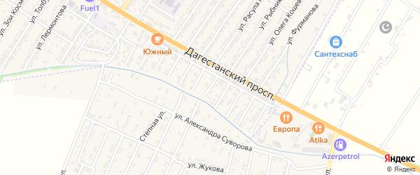Зеленая улица на карте Дагестанских огней с номерами домов