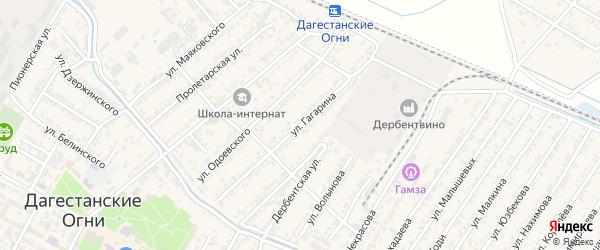 Улица Юрия Алексеевича Гагарина на карте Дагестанских огней с номерами домов