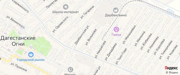 Улица Валынова на карте Дагестанских огней с номерами домов