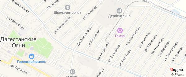 Улица Волынова на карте Дагестанских огней с номерами домов
