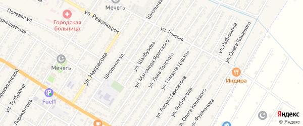 Улица Магомеда Ярагского на карте Дагестанских огней с номерами домов