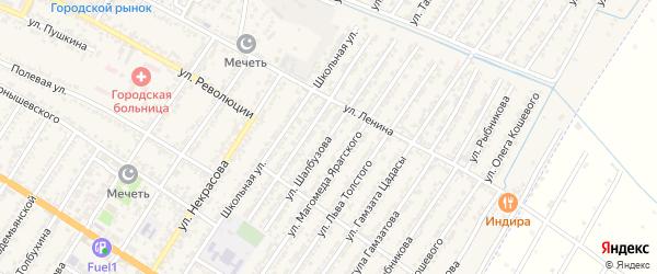 Улица Шалбузова на карте Дагестанских огней с номерами домов