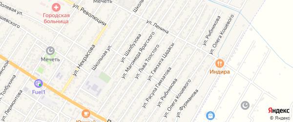 Улица Льва Николаевича Толстого на карте Дагестанских огней с номерами домов