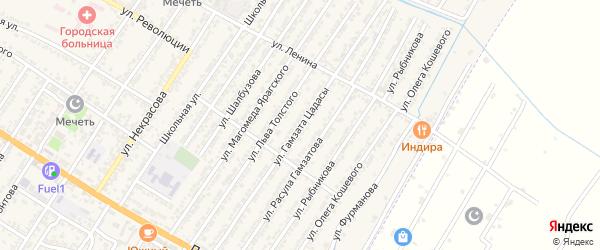 Улица Гамзата Цадасы на карте Дагестанских огней с номерами домов