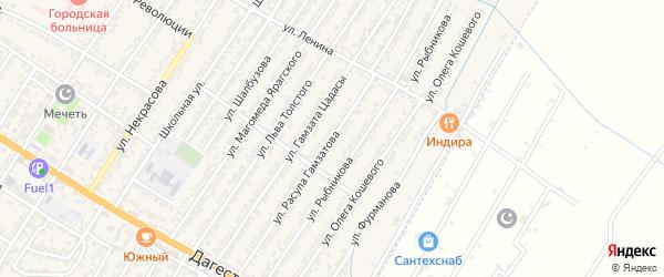 Улица Расула Гамзатовича Гамзатова на карте Дагестанских огней с номерами домов