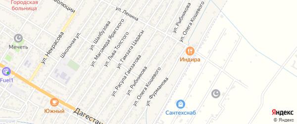 Улица Александра Ильича Рыбникова на карте Дагестанских огней с номерами домов