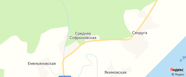 Карта Средней Софроновской деревни в Архангельской области с улицами и номерами домов