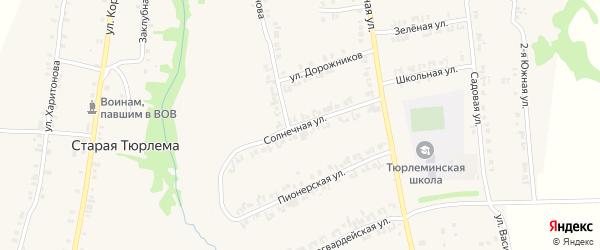 Солнечная улица на карте станции Тюрлемы с номерами домов